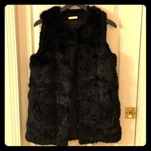 Genuine Real Rabbit Fur Vest Black S/M NWT